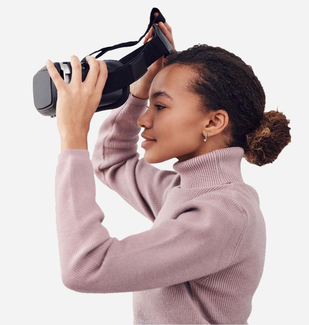 Female wearing headset