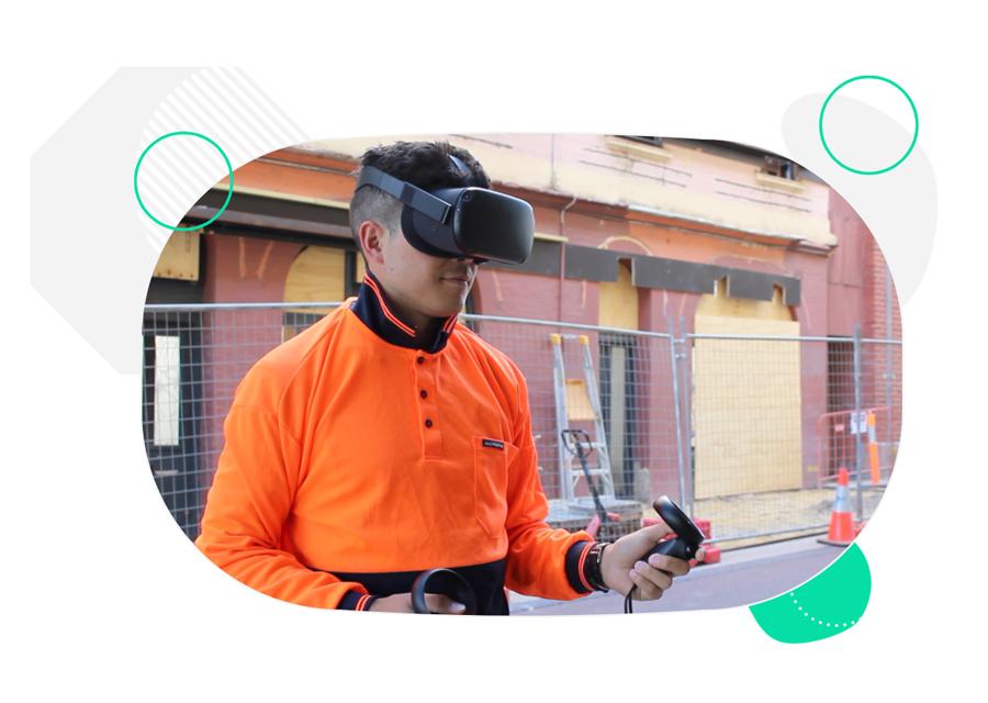 Female worker wearing VR headset